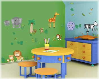Tipos de pieza infantil for Estilo arquitectonico que usa adornos con plantas y animales